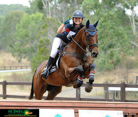Showing a great deal of confidence over the final fence in the EvA95 during the NSW Interschool State Championships, was Anna Jarvis from New England Girls School in Grade 11 riding her horse My Happiness.