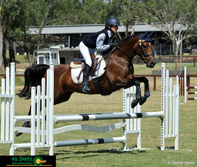 With ears pricked and looking focused in EvA80 Show Jumping phase was combination, Annabelle Stott Despoja and Moonbah Ridge Truffles at the NSW Interschool State Championships.