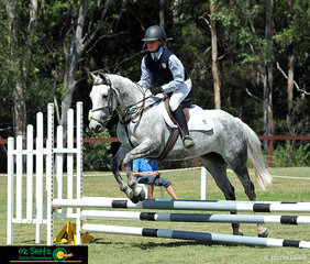 Alexandra Fairfield-Smith and Eighteen Carrot complete the EvA60 show jumping phase of the eventing with ease at the NSW Interschool State Championships.