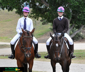 Frensham riders Anna Rickwood (left) and Alex Cunningham (right) pose together for a photo during the Dressage phase of their Combined Training classes at the NSW Interschool State Championships.