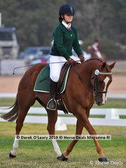 "Karri Krasna rode ""Talhia"" in the Grade 3 Dressage representing her team ""Mildura's Mane Attraction"""