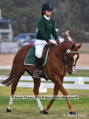 "Karri Krasna rode ""Talhia"" in the Grade 3 Dressage representing her team ""Mildura's Mane Attraction"""