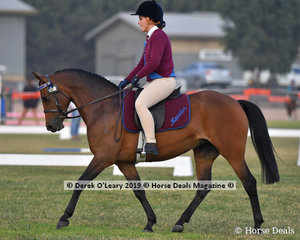 "Alex Hay from Macedon rode ""Habafield Portia"" in the Grade 4 Dressage, her team ""Half Passed It"""