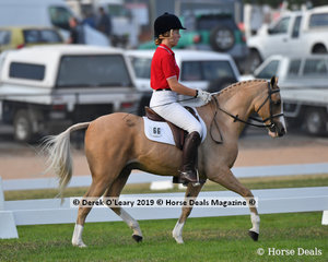 """Jemma Reeve-Singles rode """"Loriot Royal Dalton"""" in the Grade 2 Dressage representing Lancefield, her team """"The Barbie Ponies"""""""