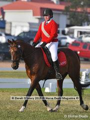 "Kayla Barbic rode ""Longyard Cadet"" representing Lancefield in the Grade 2 Dressage"