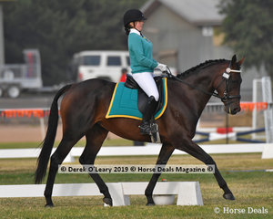 "Lauren Cocks from Riddells Creek rode ""Miss Skiing"" in the Grade 1 Dressage representing her team ""Calamity Cowgirls"""