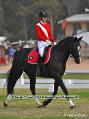 """Sophie Griffiths from Deniliquin rode """"Margherite"""" in the Grade 2 Dressage her team """"Wannabee Sisters"""""""