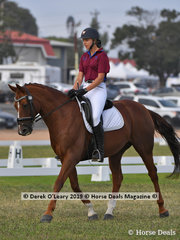"Jayde Kirkham from Macedon rode ""Beauvelai"" in the Grade 1 Dressage, her team ""Half Passed It"""