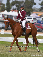 """Madison Lloyd rode """"Time Square"""" in the Grade 3 Dressage representing Nyah Pony Club"""