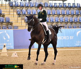 Representing Central Coast Grammar in the Adavnced dressage is Grade 9 student Kaitlin Martin with Divina.