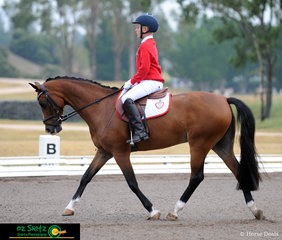 First horse into the arena for the Primary Preliminary dressage was Liam Mackenzie-Smith and Barrelyn Warlord representing Wyong Creek Primary School.