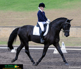 Heading down the centre line at the conclusion of their test, Chloe Scicluna and Don Schumann complete a brilliant Preliminary 1C test in the Seondary Intermediate Preliminary class on day three of the NSW Interschool State Championships.