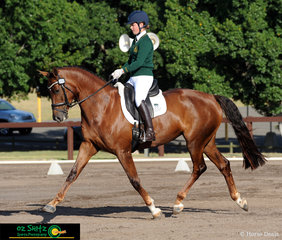 Representing Central Coast Grammar School was Year 11 student Shelby Bragg with Halle Berry Imp trot across the arena in the Secondary Senior Novice dressage at the NSW Interschool State Championships. .