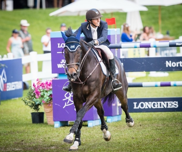 Brian Moggre (USA) is victorious in his Longines FEI Jumping World Cup™ debut at Ocala, (USA) with Vivre le Reve on Sunday 10 March 2019. (FEI/Shannon Brinkman)