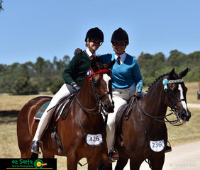 Big smiles for Bronte Dagg and Cienna Knowles after competing in the Seconday Show Horse on the final day of competition.