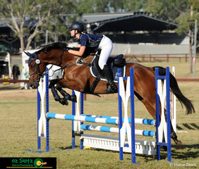 Representing Burgmann Anglican School were Holly Pulford and Master Spook clearing each fence with ease in the Secondary 80cm Am5 Show Jumping phase.
