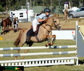 Kitra Park Dazzle Me had no trouble going over the jumps in the Secondary 80cm Show Jumping Am5 course for rider Trista Mitchell to finish in second place on the final day at the NSW Interschool State Championships.