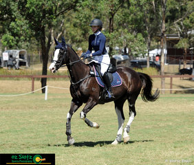 Flashy and focused - Aanicka Grant and Kenlock Park Bluestone look towards their next jump in the 1m Secondary Two Phase Show Jumping. .