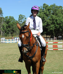 Star eventer Taurus stepped into the Show Jumping to compete in the Secondary 1m class - pictured here with rider Willa Mitchell they placed second in the Two Phase round.