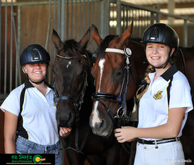 Hanging out back at the stables is Darcy Bradley and Emma Fontanot with their horses Fulgur Baculi and Fidum Elpis Amour competing across Eventing, Show Jumping, Dressage and Combined Training at NSW State Interschool Championships.
