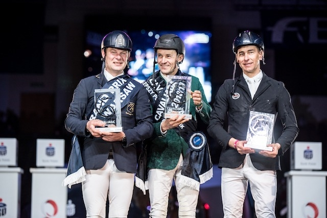 Polish riders were in flying form at last weekend's FEI Jumping World Cup™ 2018/2019 Central European League Final in Warsaw (POL) where League winner Jarosław Skrzyczyński (centre) and Grand Prix winner Wojciech Wojcianiec (left) both qualified for the Longines 2019 Final in Gothenburg (SWE) next month, and compatriot Krzysztof Ludwiczak was also in the limelight. (Photo: FEI/MRPhotos)