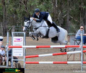 Competng in the show jumping phase of the Two Star eventing at Morgan Park in Warwick is Luke Harmer and  Belcam Le Canada.