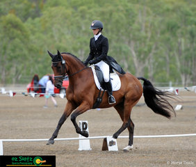 Competing in the highly competitive Three Star field at the Warwick Horse Trials is Madison Simpson  on board, Adloo Galina.