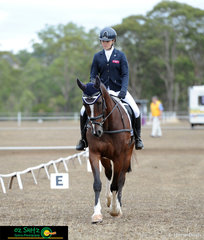 Getting ready to go into the dressage phase of the EvA95 Junior is interschool rider, Grace Anthony and her horse, X Factor.