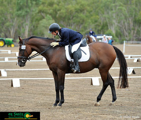 Over the weekend competitors are required to compete in all three phases of the eventing discipline, pictured is EvA60 competitor, Linda Beeney with her horse Harvard Days at the end of her dressage test.