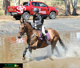 The water complex proved no iissue for Sophie Nicholls riding Booroodabin Galaxy in the EvA80 Junior class.
