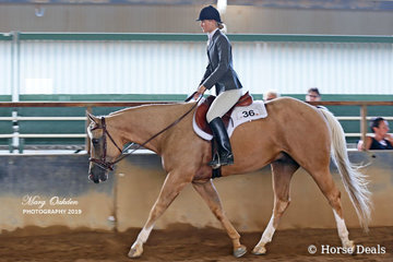 Kasey Wyse & Clairveaux Gotta B Hot competing in Sunday's Youth 13 to 17 Years Hunter Under Saddle.