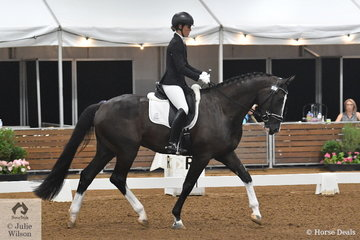 Robbie McKinnon rode her well schooled, HV Del Piero, to sixth place in the 4 year old young horse class. The top ten in each age group move into round two tomorrow.