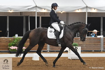 Mietta Innes-Irons rode her Trakehner mare, Schonherz in the large class for 4 year old young horses.