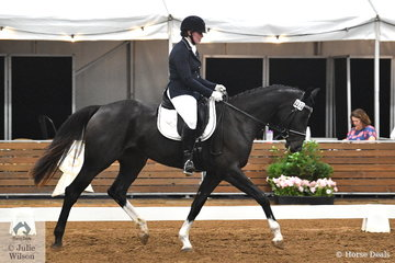 Louise Robertson rode her Bellaire Cartier in the 4 year old young horse class. Most of the young horses coped very well in the well decorated but spooky arena.