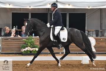 Rodney Martin rode the Oakford Equine Hospital's, stallion OEH Forever Chilli to fourth place in the 4 year old young horse round one.