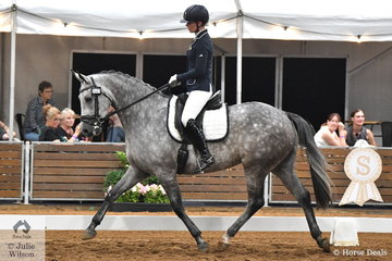 After a very busy time at the Australian Arabian Championships, Megan Cheeseman rode Kate Dertell's Arabian Warmblood, Regal Jive FF in the 4 year old young horse round one.