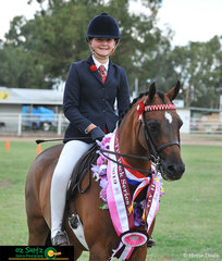 Taylor Humphreys having a very successful time at the 2019 Warwick Show on her pony, Drumeden Muscian, pictured is Taylor winning the T1Y Champion or Champions Hack Series.