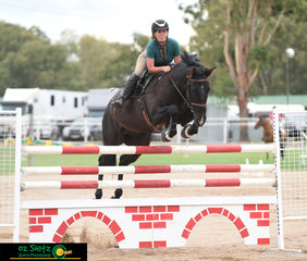Stepping up into the 1.30m class at Warwick Show was Dakota Cooke on her 10 year old Andalusian, Anchorbar Santos.
