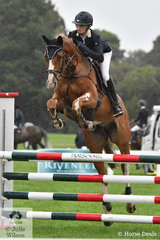 Tori Stuckey rode Kerry Mack's colourful, 'Jaybee Ballon Dor' (Baluga/Cardento) to take seventh place in the Five Year Old Young Jumping Horse Championship.