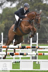 Amongst probably the best bred field of young jumping horses seen at DJWTS, a Thorougbred off the track more than held his own. Sam McCrae from Victoria rode his 'Jameison' (Host/Johannesburg) to take  eighth place in a very strong field of Five Year Old Young Showjumpers.