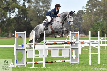 Looking cool and stylish as always, international rider, Clint Beresford from Bega in NSW rode his, 'Emmaville Dontango' (Cil Dara Cartland/Daley K) to take second place in the Six Year Old Young Jumping Horse Championship.