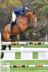 Melissa Blair rode her Belgian import, 'Gigant Z (Glasgow vh Merelsnest  NOP/Lewinski) to sixth place in the Seven Year Old Young Jumping Horse Championship.