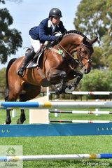 Phil Lever stepped right back in to domestic action after returning home to Australia and is pictured aboard Caroline Price's imported German stallion, 'Calavino' (Katoo/Calido 1) that took second place in the Seven Year Old Young Jumping Horse Championship.
