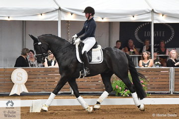 Karen Blythe's gelding 'Sonic K' (Stedinger/Weltmeyer) won the Four Year Old Young dressage Horse Championship and is pictured being ridden by guest judge, Therese Nilshagen from Sweden.