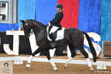 Alexis Hellyer rode her own and Elliott Patterson's, 'Bluefields Doris Day' (Desperados/Florencio) to claim the Seven Year Old Young dressage Horse Championship.