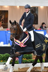 Winners are grinners and Brett Parbery was certainly pleased to take out the Five Year Old Young Dressage Horse Championship and go on to claim the Champion of Champions Young Dressage Horse award with Terry Snow's talented, imported mare, 'Willingapark Emotion'.(Equitaris/Florestan).