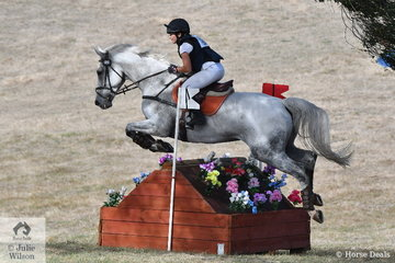 Sophie Doake and 'Grandjany' pictured over one of the well built Wandin cross country fences took 11th place in the International Animal Health CCI3*.