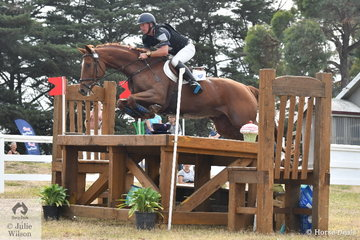Simon Tainsh is pictured aboard the Queensland bred Warmblood, 'Remi Lord Of The Realm' that took  sixth place in the International Animal Health CCI3*.