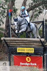Rebekah Italiano and  'ESB Irish Patience' are pictured dropping off the newly reconstructed, thanks to the Bendigo Bank famous Wandin Bridge. They took sixth place in the Pryde's CCI4*.