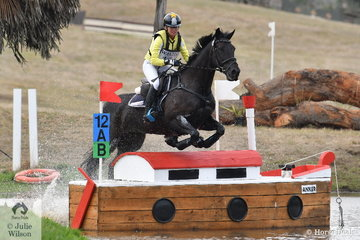 Amanda Ross is pictured aboard Chrissy and Fraser Brown's WEG shortlisted, 'Koko Popping Candy' that won the the Pryde's CCI4*.